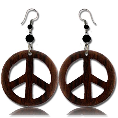 Earth Accessories Peace Sign Dangle Earrings with Organic - Beads Beeswax Necklace