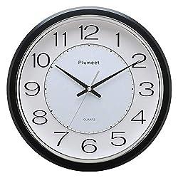 Plumeet 12.5'' Silent Wall Clock, Non Ticking Classic Retro Wall Clock Decorative Living Room, Bedroom, Outdoors, Battery Operated Quartz Large Quiet Wall Clock (Black)