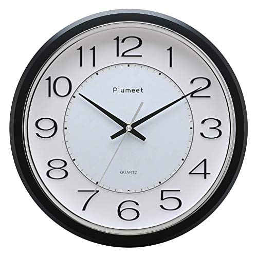 Plumeet 12.5 Silent Wall Clock, Non Ticking Classic Retro Wall Clock Decorative Living Room, Bedroom, Outdoors, Battery Operated Quartz Large Quiet Wall Clock (Black)