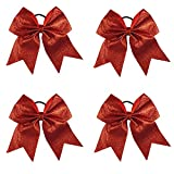 CN 4Pcs 7'' Glitter Cheer Bows With Ponytail Holder Girls Sparkle, Red, Cheer Bow