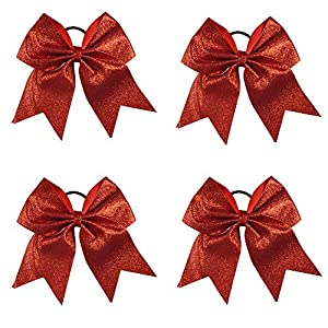 CN 4Pcs 7″ Glitter Cheerleader Bows With Ponytail Holder Girls Sparkle Bow …