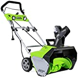 Greenworks 20-Inch 13 Amp Corded Snow Thrower With Light Kit 2600202