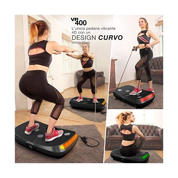 Novità 2020! Pedana vibrante 4D, Curved Design VP400 + video, display touch a colori, schermo XXL, tecnologia LED… 4 spesavip