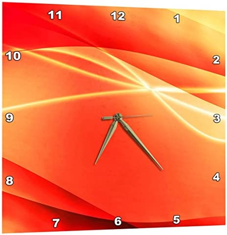 3dRose Orange, Streamers, White, Sparkle, Abstract, Contemporary, Modern – Wall Clock, 15 by 15-Inch DPP_213781_3