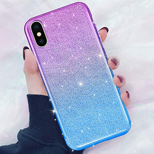 DAUPIN for iPhone Xs Max Phone Case Gradual Colorful Luxury Glitter Bling Clear Crystal Sparkle Slim Thin Cover for Women Girls for iPhone Xs Max 6.5 Inch 2018 (Blue-Purple) …