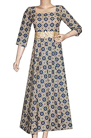 4d1c4ac920 IndiaVillage women s cotton floor length evening gown  Amazon.in  Clothing    Accessories