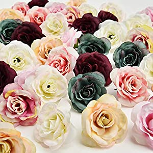 Flowers Heads in Bulk Wholesale Wedding Party Home Decoration Wreath DIY Scrapbooking Crafts Small Artificial Tea Rose Bud Silk Flower Head 30pcs 4CM(Multicolor) 72