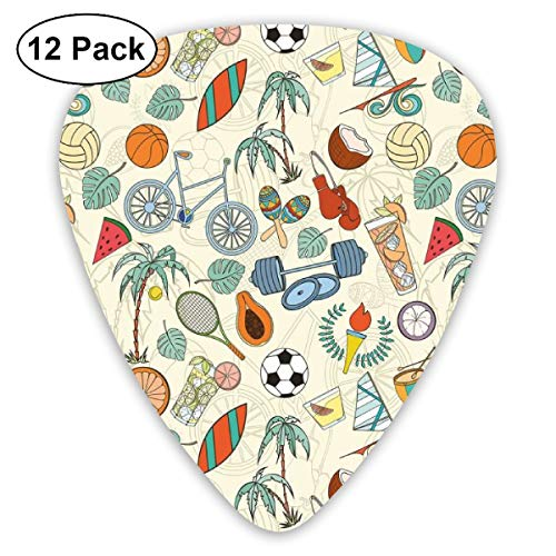 - Guitar Picks - Abstract Art Colorful Designs,Sports Themed Abstract Cartoon Style Icons Bike Balls Olympic Flame Weight Gloves,Unique Guitar Gift,For Bass Electric & Acoustic Guitars-12 Pack