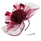 Zivyes Wedding Fascinator Hat Feather Mesh Net Veil Party Hat Flower Derby Hat with Clip and Headband for Women
