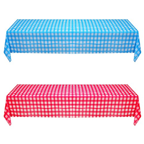 Hicarer 2 Pieces Disposable Plastic Tablecloth Printed Gingham Checkerboard Plastic Table Cover, 108 Inch x 54 Inch, Blue and Red