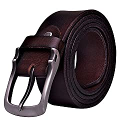 Teemzone Men's Genuine Leather Antique Casual Style Dress Jean Single Prong Belt Brown Color (125 (Waist Size:40.5