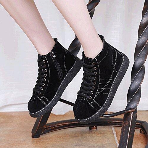 Impermeable de con Zapatos Planas Color de Zapatos Alto 5 Encaje de Mujeres Ayudar EUR Casuales Puro para a Las Plataforma de caqui 35 de Concha Zapatos nInqv8