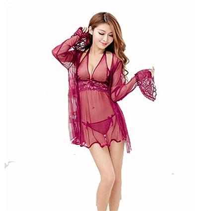DHMHJH Ropa Interior Pijama Sexy para Mujer La Rebeca de Encaje Perspective es Extremadamente tentadora,