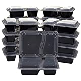 20-Pack Bento Lunch Box - 2-Compartment Meal Prep Containers with Lids - BPA Free, Stackable- 36-Ounce Durable Plastic Reusable Food Storage Set