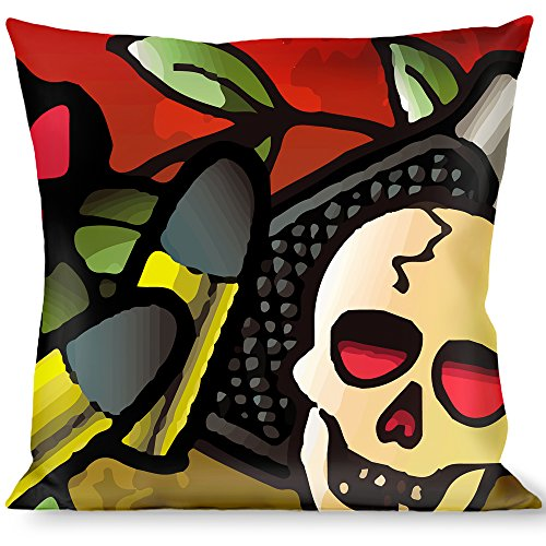 Raise Hell Tattoo - Buckle Down Throw Pillow-Born to Raise Hell Red, Born to Raise Hell Tattoo