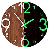 Foxtop Night Light Function Wooden Wall Clock, 12 inch Silent Non-ticking Wall Clock Battery Operated Vintage Rustic Country Tuscan Style for Kitchen Bedroom Office Home Indoor