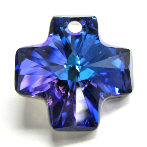 (1 pc Swarovski Crystal 6866 Cross Charm Pendant Heliotrope AB 20mm / Findings / Crystallized Element)