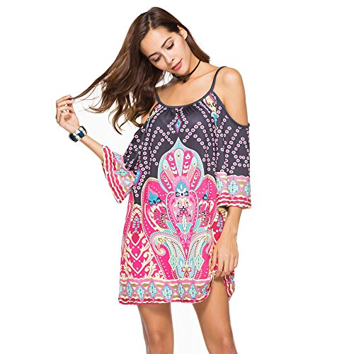 ADREAML Womens Cold Shoulder Spaghetti Strap Tribal Printed Summer Shift Dress Red ()