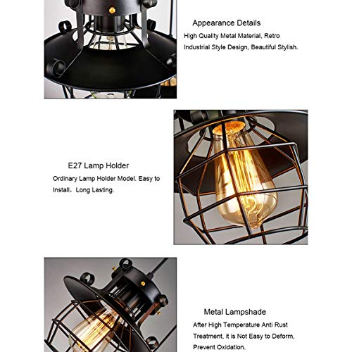 NANGE Modern Chandelier,Minimalist Creative Wrought Iron Pendant Lights,Bar Leisure Sound Industrial Wind Hanging Lamp,E27(Without Light Source) (Color : AC 110V) by NANGE (Image #6)