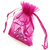 AKStore 100 Pieces Draw String Organza Jewelry Rose Favor Pouches Wedding Party Festival Gift Candy Bags, 3.5 Ounce