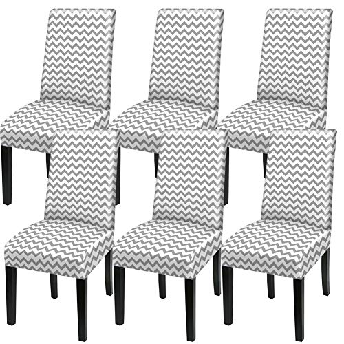 YISUN Stretch Dining Chair Covers Removable Washable Short Dining Chair Protect Cover for Hotel,Dining Room,Ceremony,Banquet Wedding Party (Grey/Wave Pattern, 6 PCS)
