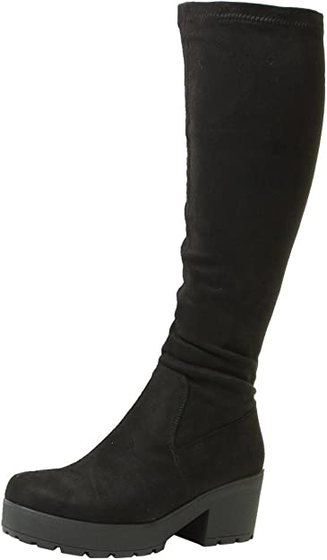 Womens Winter Knee High Boots Long Stretch Party Lace Up Wide Calf Shoes Size UK