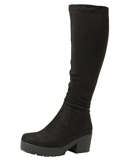 da36869c203 Ladies Womens Black Chunky Heel Suede Stretch Wide Calf Fit Calf Knee High  Boots Sizes 3 4 5 6 7 8 UK