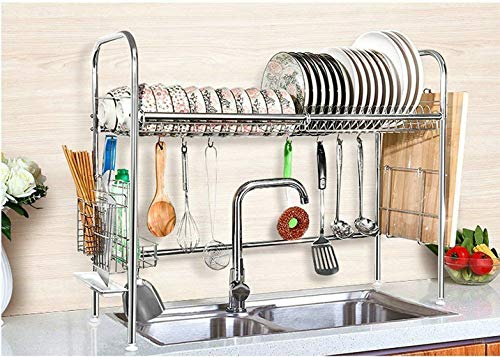 (CASAVIDA Dishes Drying Rack, Stainless Steel Adjustable Kitchen Cabinets with Chopstick Holder, Rustless)