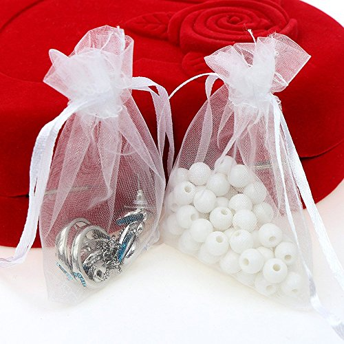 Viatabuna Organza Bags 100pcs 4 x 6 Inch Gift Bags Organza Drawstring Pouch Jewelry Party Wedding Favor Party Festival Gift Bags Candy Bags (White)
