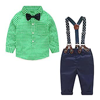 Toddler Boys Outfits Suit Infant Clothing Newborn Baby Boy Clothes Sets Gentleman Plaid Top+Bow Tie+Suspender Pants (2-3 Years, Green)