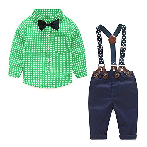Yilaku Toddler Boys Outfits Suit Infant Clothing Newborn Baby Boy Clothes Sets Gentleman Plaid Top+Bow Tie+Suspender Pants (6-9 Months, Green)]()