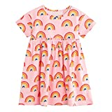 FreeLu Girls Short Sleeve Dress Cotton Casual Cartoon Dresses(7T,Pink Rainbow)