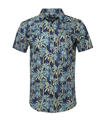 ALTOGUSTO NUTEXROL Men's Standard-Fit 100% Cotton Palm Tree Beach Print Hawaiian Shirt Green Medium