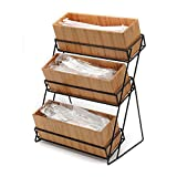 Cal-Mil Iron Essentials 3 Tier Bamboo/Black Metal Wire Condiment Holder - 13''L x 9 1/2''W x 17 1/2''H