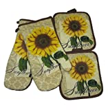 Sunflower Tan Brown Potholders and Oven Mitts Set (4 Items)
