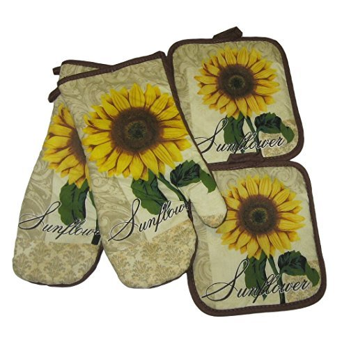 Sunflower Tan Brown Potholders and Oven Mitts Set (4 Items) by Unknown (Image #1)