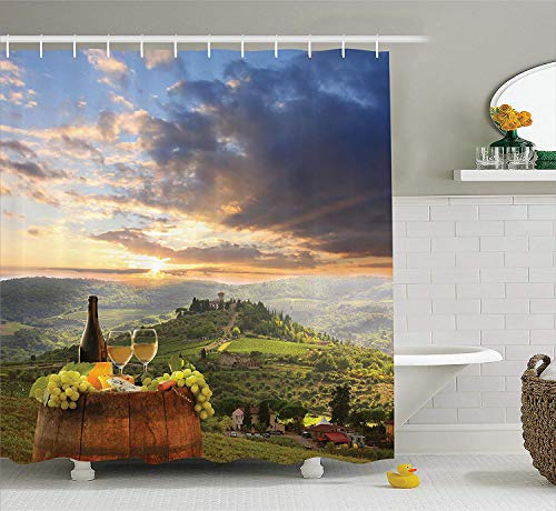 Douglas Hill Winery Decor Collection Vineyard in Chianti Tuscany Italy Autumn Sunrise with Sun Lights Bursting Through Clouds Image Polyester Fabric Bathroom Shower Curtain,118.95