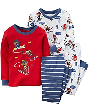 Carters Baby Clothing Outfit Boys 4-Piece Snug Fit Cotton PJs Ski Monkey