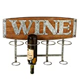 "21.5"" Brown and Gray Rustic Look Wall Mounted Wine Rack with Word Plaque"