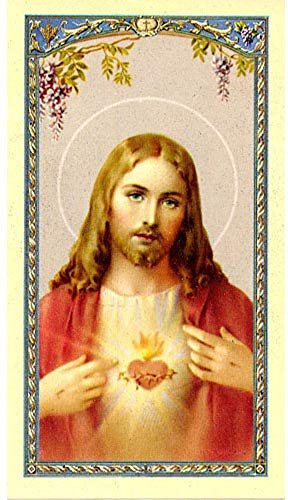 Sacred Heart Of Jesus Holy Prayer Card, Laminated, Prayer For Daily Neglects' On Back, Saint Margaret Mary Devotion Of (Mary Personalized Prayer Card)
