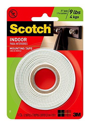 Scotch Indoor Mounting Tape, 1/2-inch x 75-inches, White, 1-Roll (110P) (Mounting Adhesive Roll)