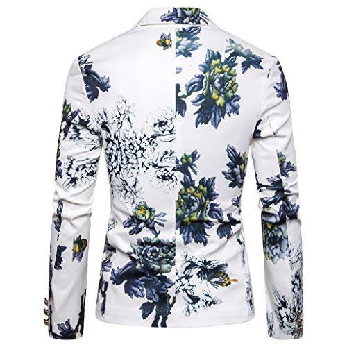 GREFER-Mens Blazer Mens Suit Jacket Slim Fit Vintage Printed One Button Floral Casual Outfits Sports Coat White from GREFER-Mens