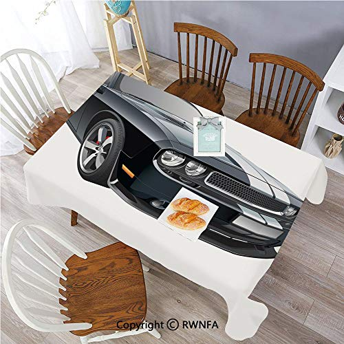 Rectangle Tablecloth Stain Resistant and Waterproof Black Modern Pony Car with White Racing Stripes Coupe Motorized Sport Dragster Dining Room Polyester Fabric Table Cloth, 55 x 70 inch Black Grey Wh
