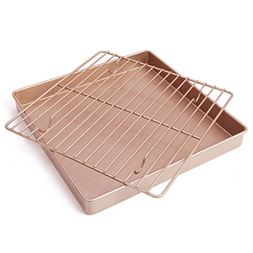 11 inch Nonstick Square Baking Sheet and Rack Set - Carbon Steel Cooking Pan - Stainless Steel Baking Pans Cookie Tray with Safe Cooling Rack