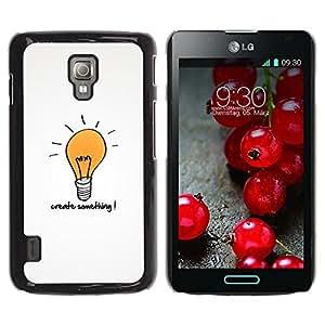 QCASE / LG Optimus L7 II P710 / L7X P714 / creatividad cita de motivación del arte bombilla / Delgado Negro Plástico caso cubierta Shell Armor Funda Case Cover