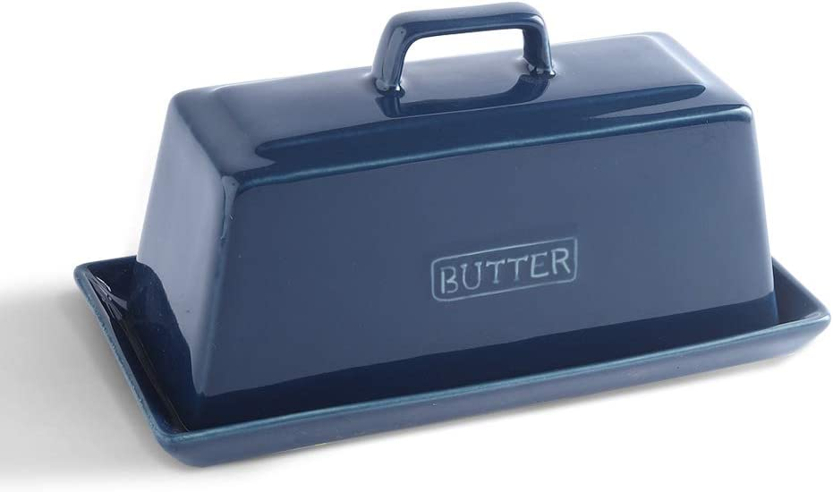 KOOV Ceramic Butter Dish with Lid, Perfect for East/West Butter, Keep Butter Soft (Aegean)