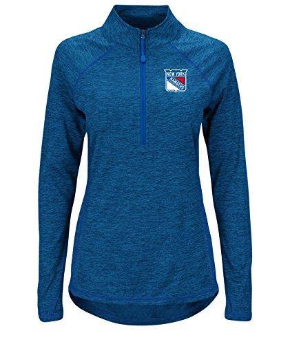 NHL New York Rangers Improvise Long Sleeve Mock Neck 1/2 Zip Tee, Medium, Blue Zephyr Heather Blue Zephyr Heather Deep Royal