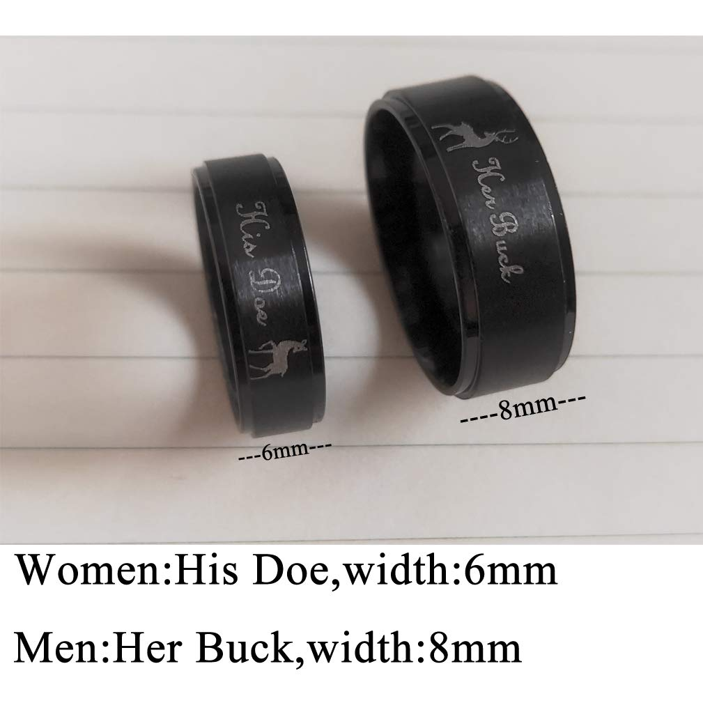 Stainless Steel Couples Ring His /& Hers Real Love Heart Engraved Her Buck His Doe Elk Promise Ring Wedding