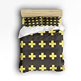 Ultra Soft Duvet Cover Geometric DecorYellow Christian Cross Icon Print Bedding Set Washed Microfiber Comfy Pillow Shams 4 Pieces Sets with Zipper Closure King Size