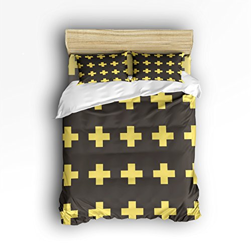 Ultra Soft Duvet Cover Geometric DecorYellow Christian Cross Icon Print Bedding Set Washed Microfiber Comfy Pillow Shams 4 Pieces Sets with Zipper Closure King Size by JOITOI